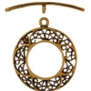 Brass Antique Toggle Round Filligree 22mm